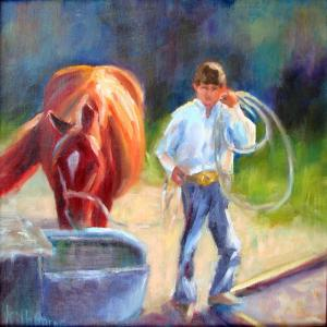 kilbourne-lead-a-horse-to-water-12x12-oil